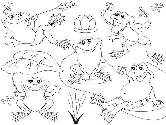 Imágenes Prediseñadas de Frog rana Vector Digital blanco y