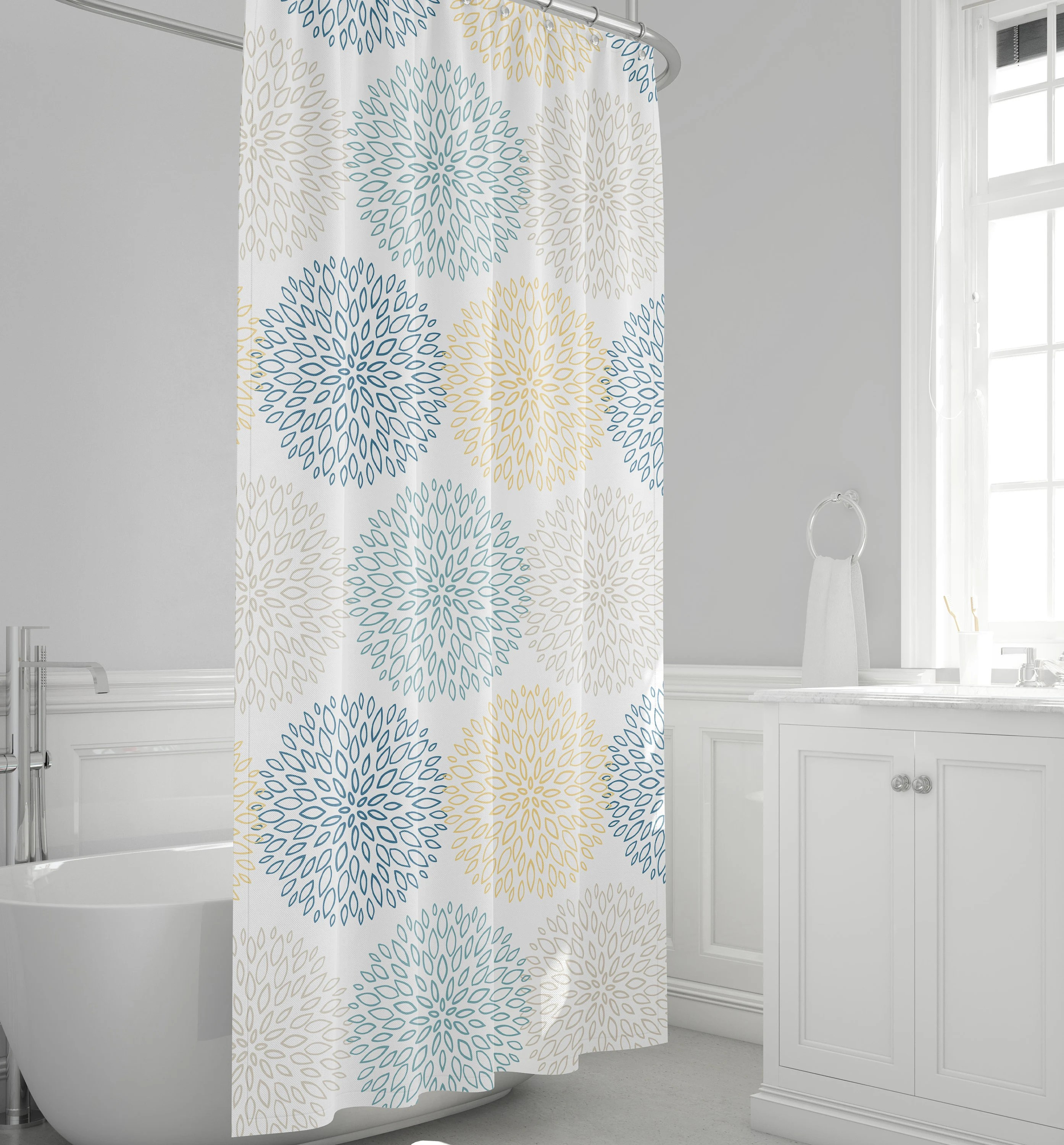 floral shower curtain blue and yellow bathroom decor large scale blooms bath curtain spa decor gray bath decor aqua blue bathroom decor