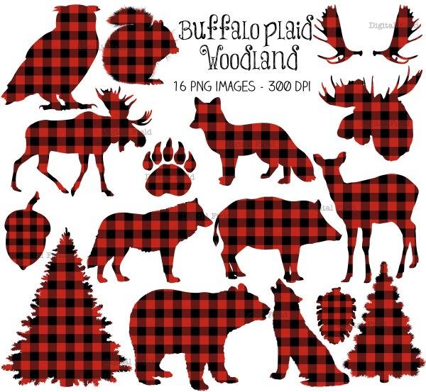 buffalo plaid woodland clip art