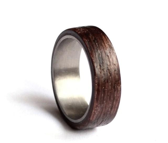 Stainless Steel Wedding Ring Mens Wedding Band Wood Mens Ring Wenge Wood Wedding Ring