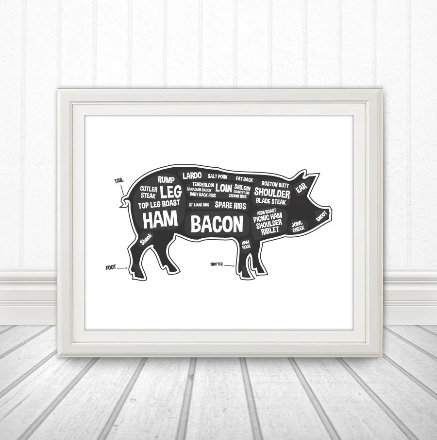 medium resolution of pig butcher diagram butcher print butcher chart pig diagram home decor kitchen sign kitchen print kitchen art custom color meat