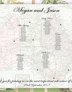 also australia wedding seating chart vintage map etsy rh