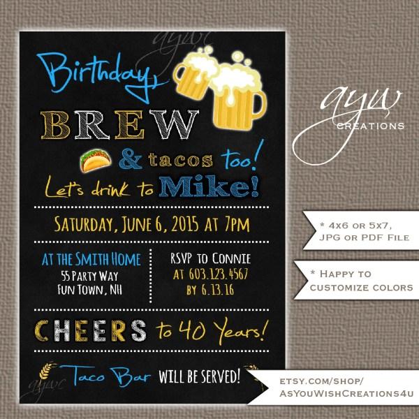40th Birthday Party Invitation Men