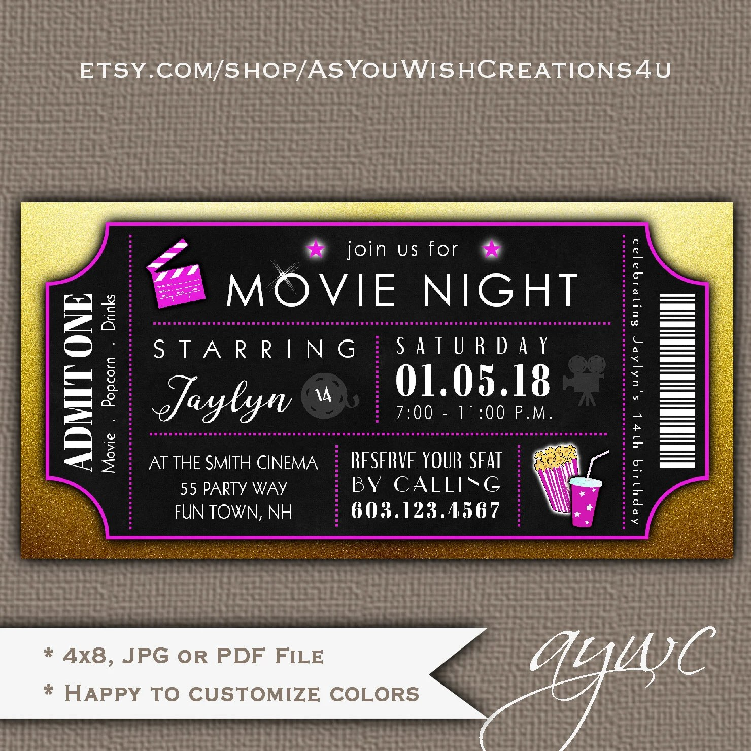movie theater birthday party invitation