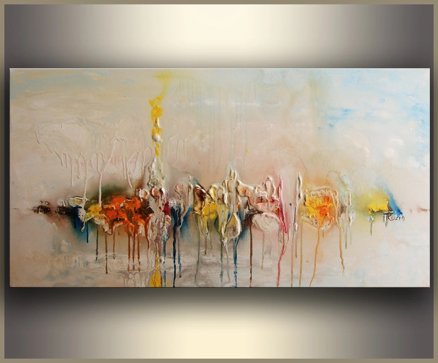 artwork for living room walls light paint colors wall art etsy colorful modern abstract painting acrylic on canvas original custom