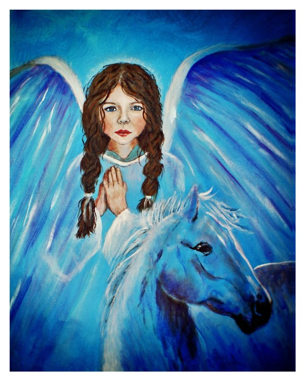 Original 8 X 10 Child Angel & Horse Print Fine Art