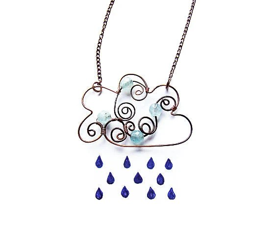 Cloud Pendant Tutorial Wire Cloud Necklace DIY Cute Rain