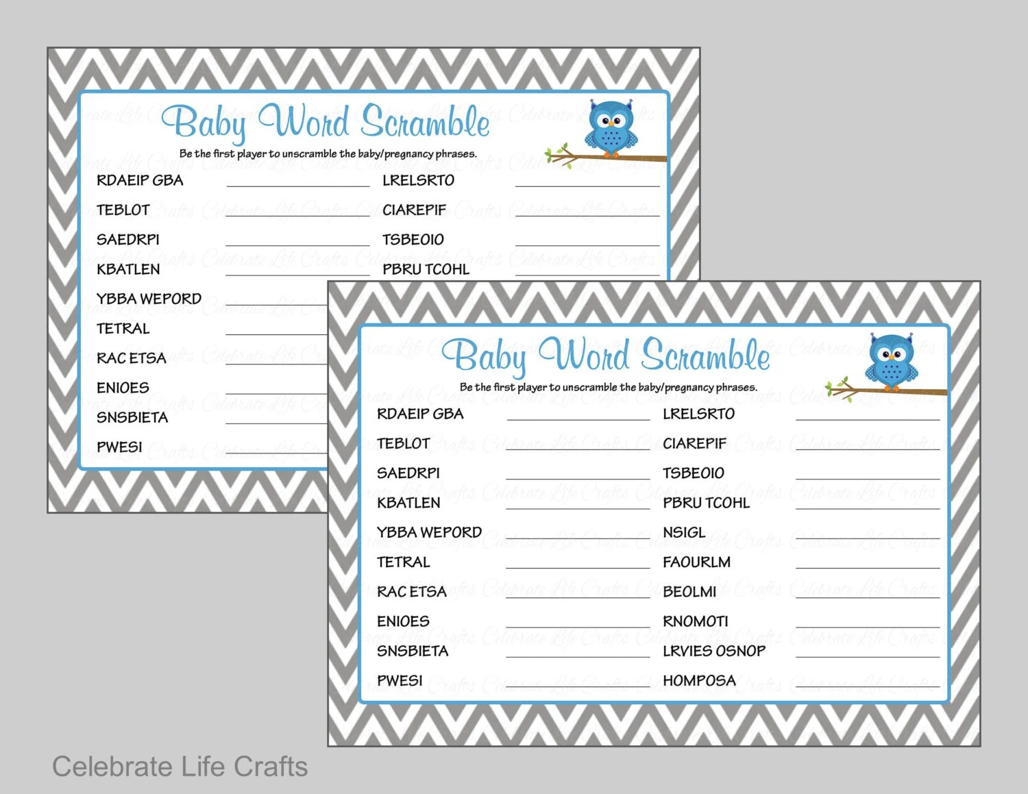 Owl Baby Shower Word Scramble Game With Answer Key