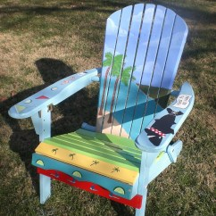 Painted Adirondack Chairs Chair Cover Rentals Kelowna Hand With An Ocean And Island Theme Etsy Image 0