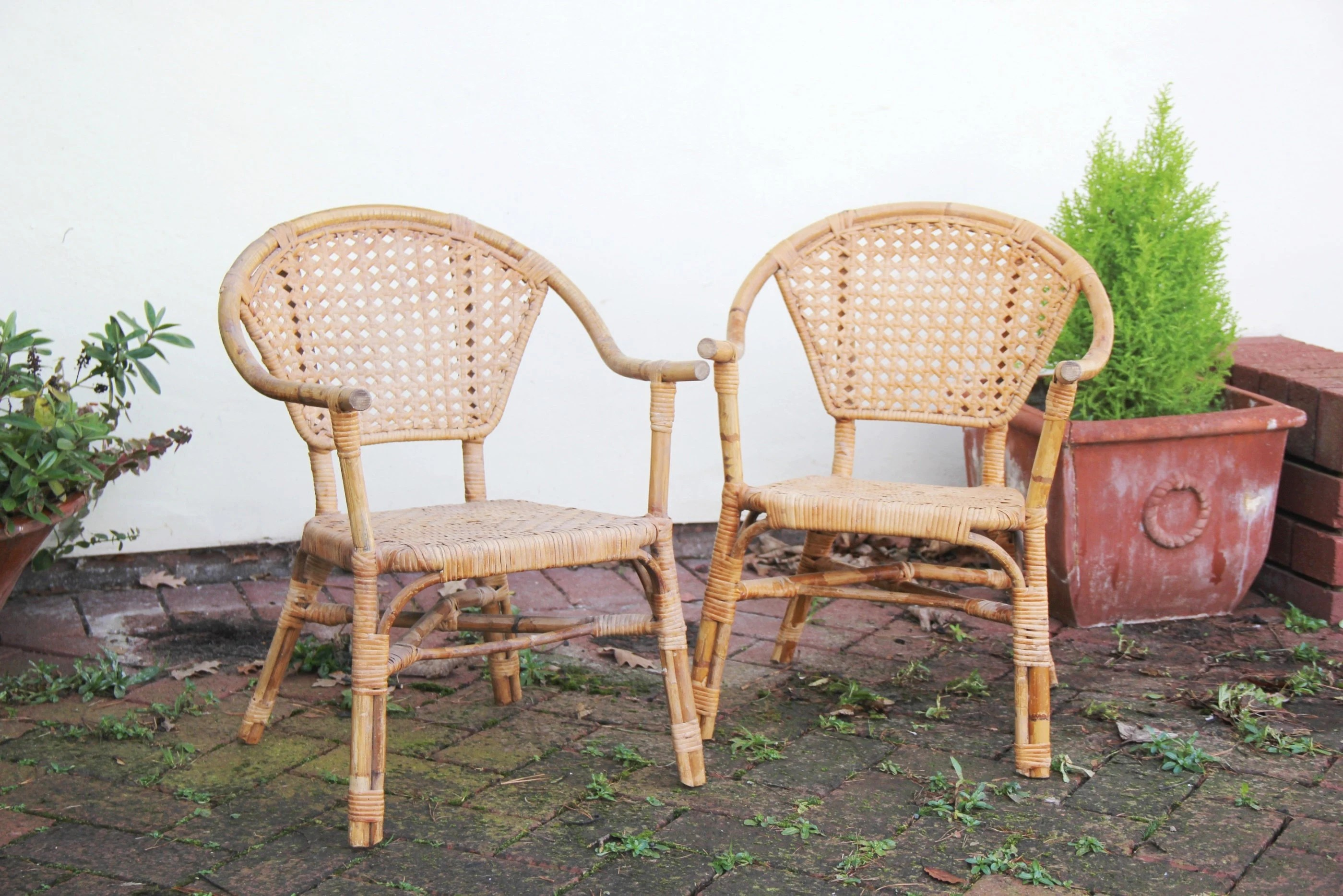 wicker chairs for sale chair casters carpet etsy pair of small rattan vintage childrens display dolls boho interiors