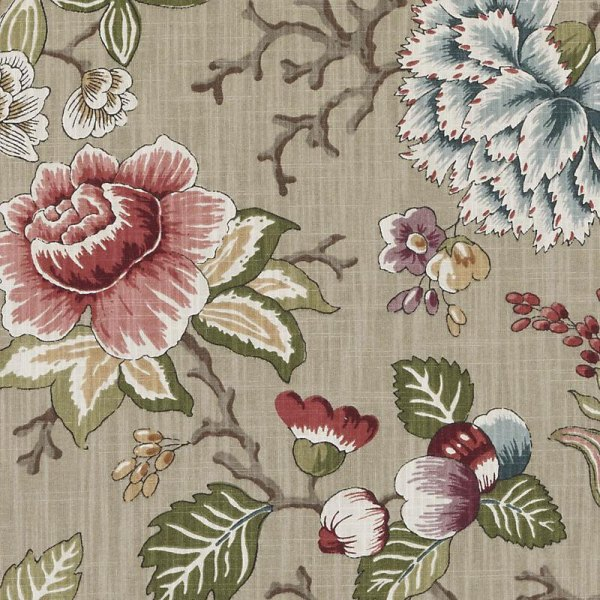 Sage Green Floral Upholstery Drapery Fabric Pink