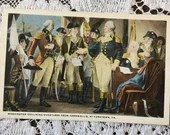 Antique Vintage 1910 Patriotic Greeting Postcard 1910s George Washington declining overtures from Cornwallis Yorktown PA Fresco 1781 History