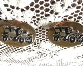 Vintage Signed Mr Tara 60s Gold Oval Silver Tone Car Cufflinks Men's Shirt Accessory Cuff Links Antique Open Top Touring Roadster Automobile