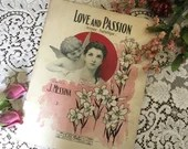Antique Vintage 1907 Sheet Music LOVE and PASSION Pensèe Pathetique Beautiful STARMER Cover Art Lily Flowers  1900s Composed by J Messina