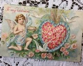 Antique Vintage 1910 To My Valentine  Embossed Greetings Postcard 1910s Cupid Cherub shooting Arrow at a Heart of Pink Flowers White Doves