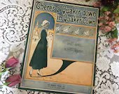 Antique Vintage 1916 SHEET MUSIC There's A Quaker Down in Quaker Town DeTakals Art Deco Cover Art 1910s Words David Berg Music Alfred Solman