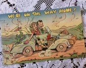 Vintage 1950 We're On The Way Home Honeymoon Vacation Mid Century Greetings Postcard MCM 1950s Newlyweds Wedding Travel Mexico Car Retro