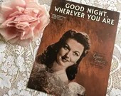Vintage Antique 1944 Good Night Wherever You Are Sheet Music GINNY SIMMS Photo Cover Art 1940s by Dick Robertson Al Hoffman Frank Weldon