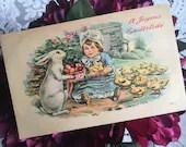 Antique Vintage Color Greeting Postcard A JOYOUS EASTERTIDE c1906 Easter Baby Chicks Eggs Basket Bunny Little Girl 1900s Edwardian Victorian