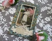 Antique Edwardian Romantic Color Postcard 1910 Theochrom Greeting Card 1900s Sweetheart Days Woman & Man Valentine Lovers in Love Photo