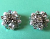 Vintage Sparkling AB Crystals with Clear Rhinestones & White Pearls on Silver Tone Clip On Earrings 1960s Beautiful!