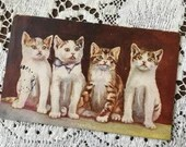 Antique 1900s Edwardian Color Art Postcard Post Card c1908 Attention - 3 Cute & Adorable Kittens Cats sitting up in a line of attention