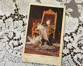 Antique 1906 Edwardian Color Art Postcard Post Card IN MISCHIEF - 4 Cute Adorable Kittens Cats up to mischief on the Red Velvet Throne Chair