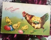 Antique Vintage Embossed Color Postcard EASTER GREETINGS 1911 Edwardian Colorful Easter Eggs Baby Chicks & a Chicken Rooster 1900s