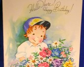 Vintage Happy Birthday Greeting Card Cute Boy in Baseball Cap Hello There! Bouquet of flowers 1940s 1950s Unused