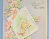 Vintage Happy Birthday Greeting Card Thatched Country Cottage Wild Roses Trailing Flowers 1940s 1950's Unused
