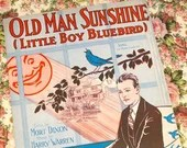 Vintage 1928 Sheet Music Old Man Sunshine Little Boy Bluebird 1920s Cover Art Deco