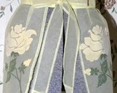 Vintage Yellow Sheer  Bellmanized Half Apron with Velour Flocked Roses 1950s