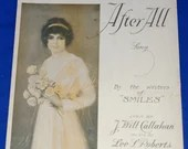 Vintage Antique 1919 After All Song Sheet Music Colorful Cover Art Beautiful Edwardian Woman Dress