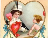Antique Victorian Embossed Valentine Postcard with American Beauty and Cupid in a Heart 1910