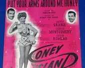 Vintage 1937 Put Your Arms Around Me Honey Sheet Music Betty Grable Coney Island Cover Art