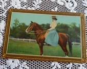 Antique Edwardian Color Photo Postcard 1900s Woman wearing a Boater Hat sitting on a Winning Race Horse The Prize Winner Vintage 1910