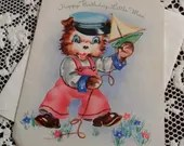 Vintage Happy Birthday Little Man Greetings Embossed Card & Envelope Unused 1940s 1950s Cute Little Bear in Dungarees Cap Sailing Boat Toy