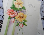 Vintage Happy Birthday Embossed Trailing Red Yellow Dogwood Wild Roses Flowers Greeting Card & Envelope 1940s 1950s Unused USA