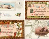Lot of 4 Vintage Antique Embossed Easter Postcards with Lilies Religious Cross & Jesus 1910