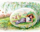 Vintage Antique Embossed Easter Egg Spring Postcard Shepherd Girl with Lambs Daffodils Springtime c1910 Edwardian Made in Germany