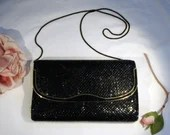 Vintage 1960s Black Alumesh Metal Evening Bag Purse Clutch with Black Metal Flexible Handle