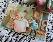 Antique Victorian Embossed Color Art Postcard Post Card 1900s Little Girl Child Let Me Take Baby Mother Home Nursery Fireplace Wicker Chair