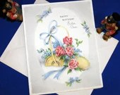 Vintage Happy Birthday Sister Dear Greeting Card & Envelope Basket of Roses and Flowers Tied with Ribbon 1940s 1950s Unused