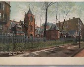 Antique Vintage Color Photo Postcard 1900s The Little Church Around The Corner NEW YORK CITY N.Y. 1910 Old Building Made in Germany