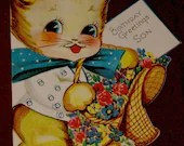 Vintage Birthday Greeting Card for Son Cute Die Cut Cute Kitten Cat 1950's Unused