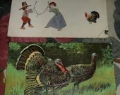 2 Antique Victorian Embossed Happy Thanksgiving Greetings Wishes Postcards with Pilgrims Wishbone Turkeys 1907 1917