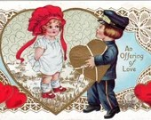 Antique Embossed Valentine Greetings Postcard An Offering of Love with cute Boy and Girl in a Heart c1910