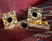 Vintage 1950s Signed Swank Diamond Cut Jet Black & Gold Mens Shirt Cufflinks Cuff Links and Tie Bar Pin Tack Set