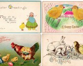4 Vintage Antique Embossed Easter Postcards with Chicks Bunnies Eggs Flowers & a Dutch Girl 1908