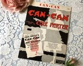 Vintage 1953 Can-Can Sheet Music Can Can Stage Musical Words Music Cole Porter Black Red White Burlesque Silhouette Dancer Cover Art 1950s